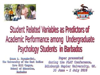 Student Related Variables as Predictors of  Academic Performance among  Undergraduate