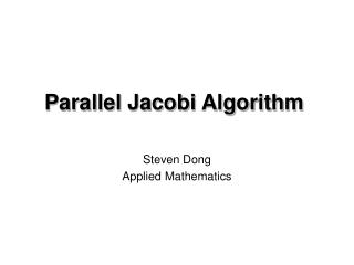 Parallel Jacobi Algorithm