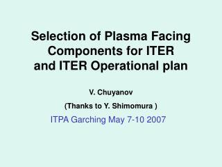 ITPA Garching May 7-10 2007