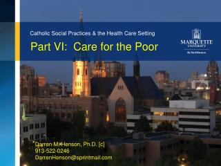 Part VI:  Care for the Poor