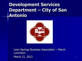 Development Services Department – City of San Antonio