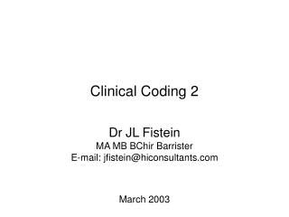 Clinical Coding 2