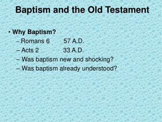 Baptism and the Old Testament