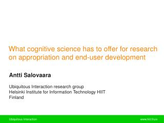 What cognitive science has to offer for research on appropriation and end-user development