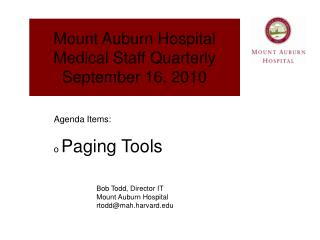 Mount Auburn Hospital Medical Staff Quarterly September 16, 2010