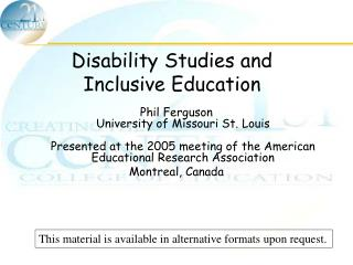 Disability Studies and Inclusive Education