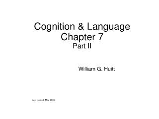 Cognition & Language Chapter 7 Part II
