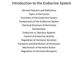 Introduction to the Endocrine System