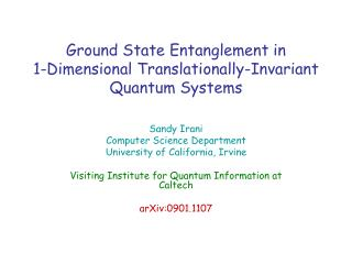Ground State Entanglement in 1-Dimensional Translationally-Invariant Quantum Systems