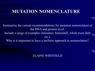 MUTATION NOMENCLATURE