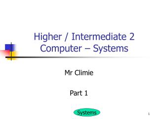 Higher / Intermediate 2 Computer – Systems