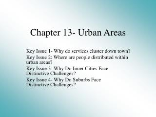 Chapter 13- Urban Areas