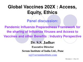 Global Vaccines 202X : Access, Equity, Ethics