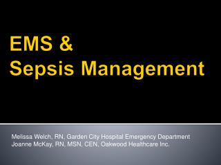 EMS &  Sepsis Management