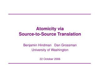Atomicity via  Source-to-Source Translation