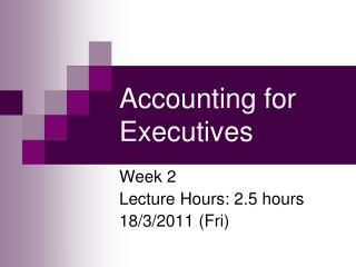 Accounting for Executives