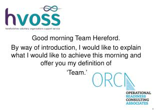 Good morning Team Hereford.