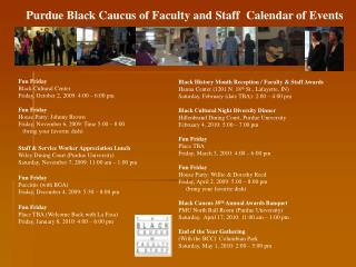 Purdue Black Caucus of Faculty and Staff  Calendar of Events