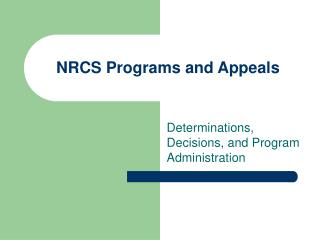 NRCS Programs and Appeals