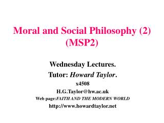 Moral and Social Philosophy (2) (MSP2)
