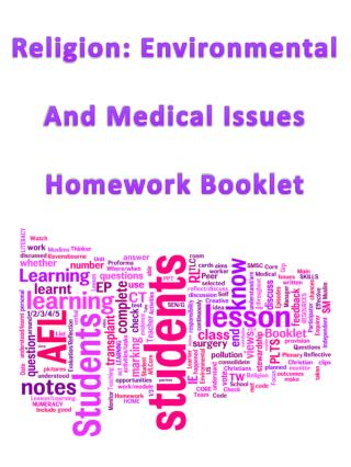 Religion: Environmental And Medical Issues Homework Booklet