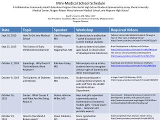 Mini-Medical  School Schedule