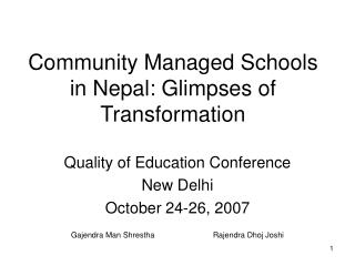 Community Managed Schools in Nepal: Glimpses of Transformation