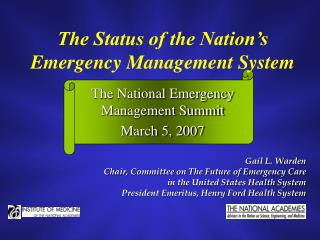 The Status of the Nation's Emergency Management System