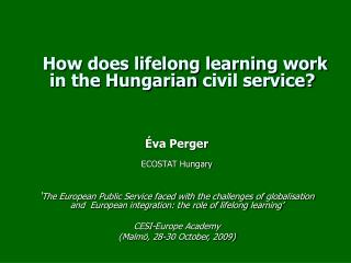 How does lifelong learning work in the Hungarian civil service?