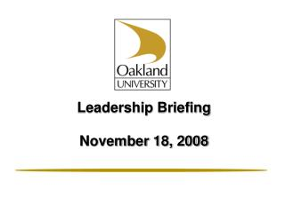 Leadership Briefing November 18, 2008