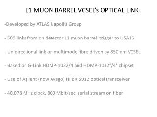 L1 MUON BARREL VCSEL's OPTICAL LINK