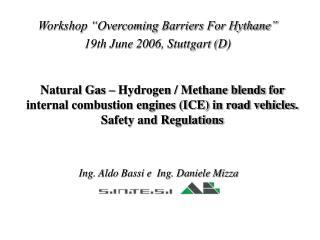"""Workshop """"Overcoming Barriers For Hythane"""" 19th June 2006, Stuttgart (D)"""