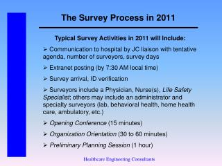 The Survey Process in 2011