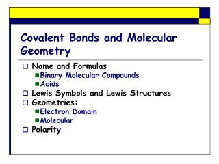 Covalent Bonds and Molecular Geometry