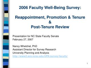 2006 Faculty Well-Being Survey:  Reappointment, Promotion & Tenure & Post-Tenure Review
