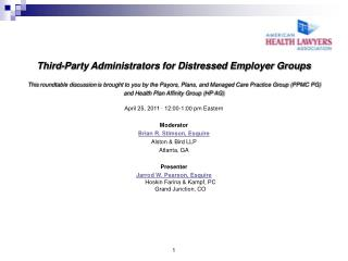 Third-Party Administrators for Distressed Employer Groups