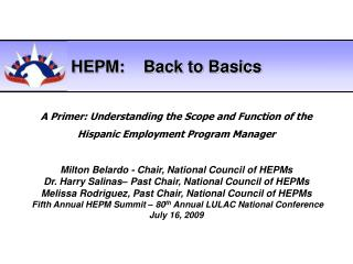 Milton Belardo - Chair, National Council of HEPMs