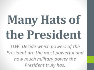 Many Hats of the President