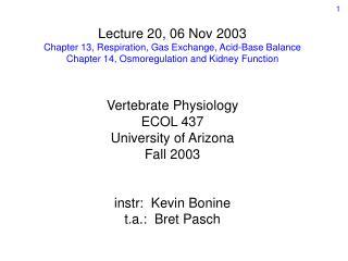 Lecture 20, 06 Nov 2003 Chapter 13, Respiration, Gas Exchange, Acid-Base Balance