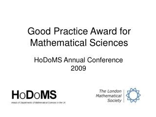 Good Practice Award for Mathematical Sciences