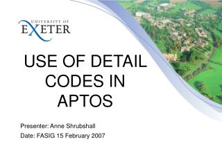 USE OF DETAIL CODES IN APTOS
