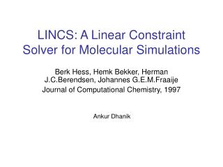 LINCS: A Linear Constraint Solver for Molecular Simulations