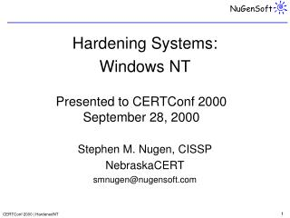 Hardening Systems:  Windows NT