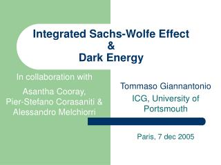 Integrated Sachs-Wolfe Effect & Dark Energy