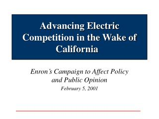 Advancing Electric Competition in the Wake of California