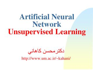 Artificial Neural Network  Unsupervised Learning