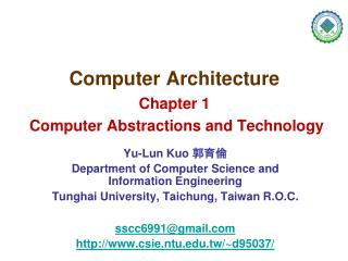 Computer Architecture Chapter 1  Computer Abstractions and Technology