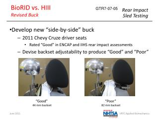 "Develop new ""side-by-side"" buck 2011 Chevy Cruze driver seats"