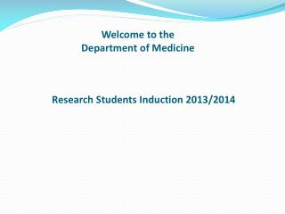 Welcome to the Department of Medicine