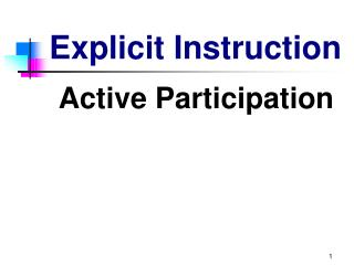 Elements of     Explicit Instruction